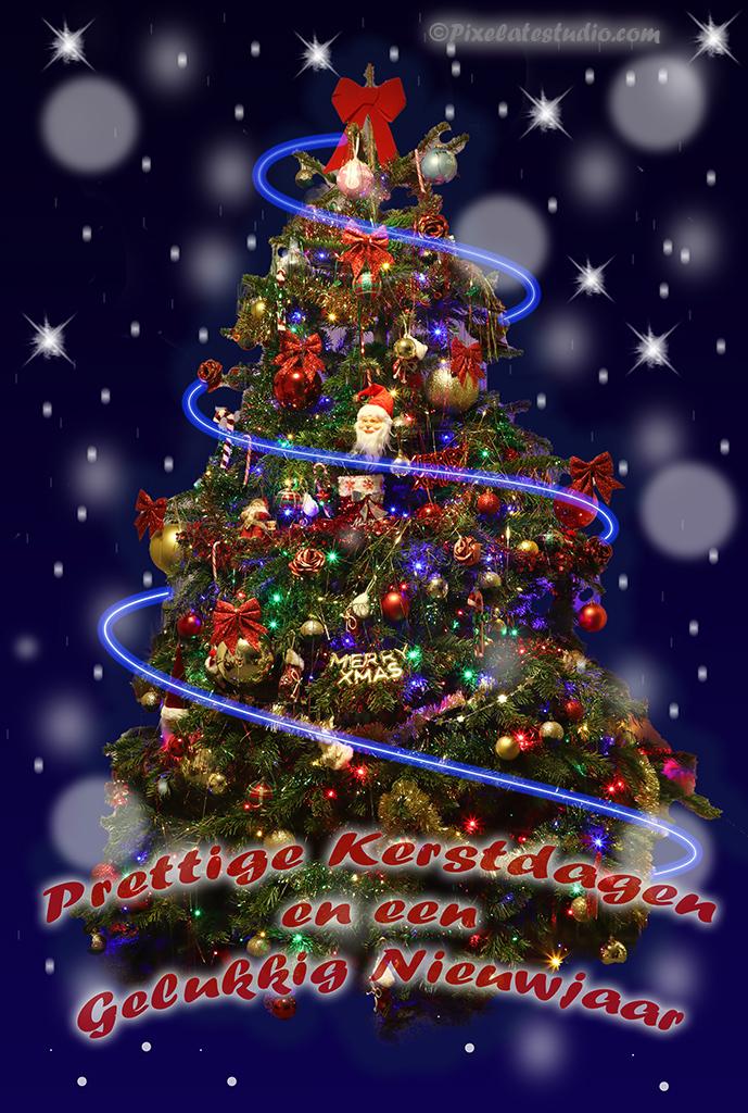 Plaatje of foto van Mooie kerstboom met sneeuwvlokken, Prettige Kerstdagen en een gelukkig Nieuwjaar plaatje