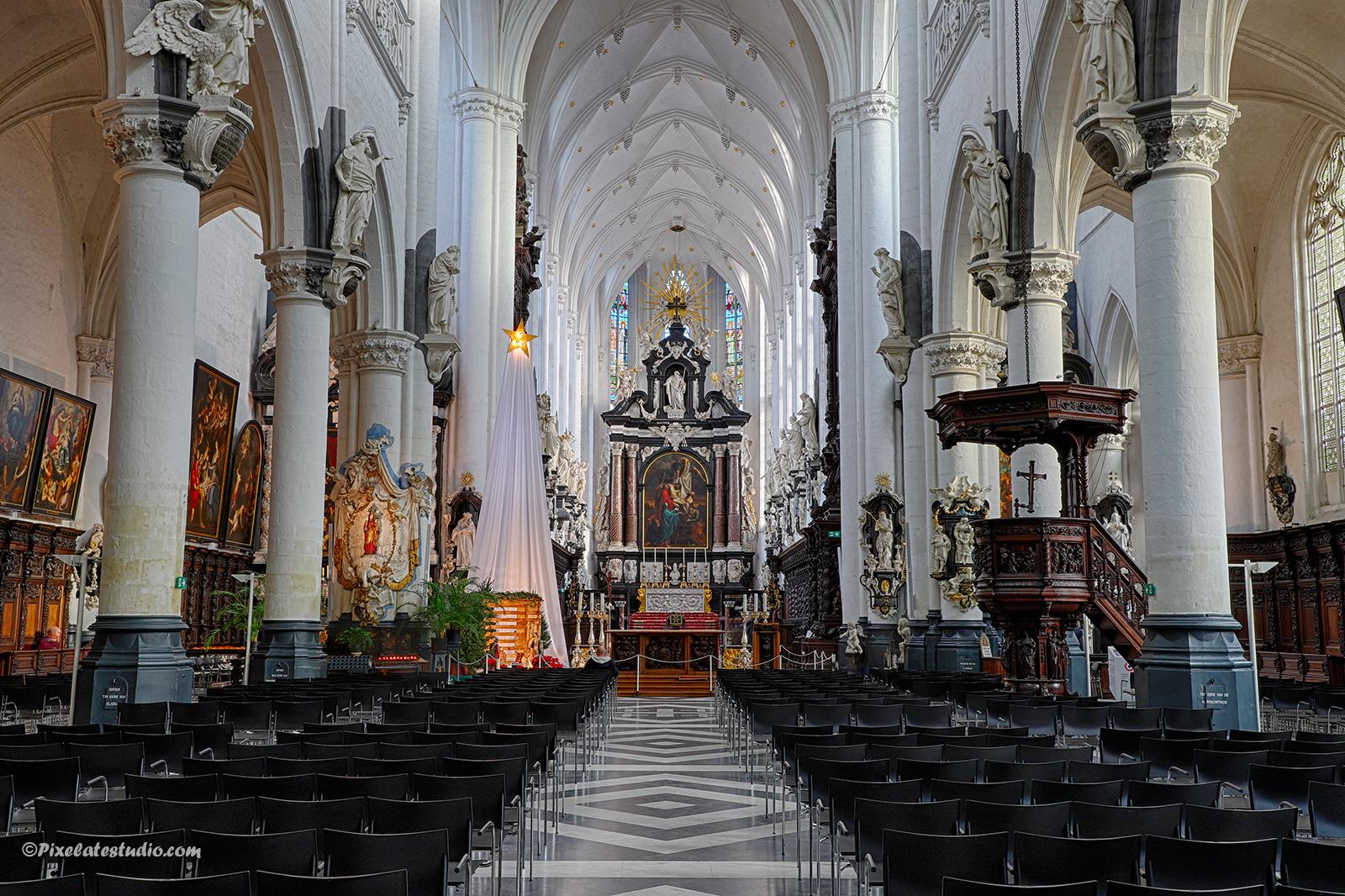 interieur van de Paulus Kerk te Antwerpen, mooie foto met kerstboom