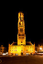 Belfort tower by night, belfort tower Bruges, picture by night