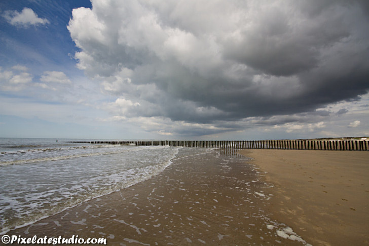 Beach Holland, with cloudy sky