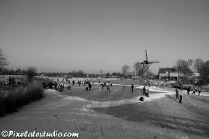 IJspret zwart-wit foto