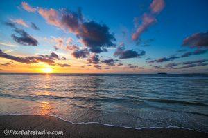 sunset aan het strand