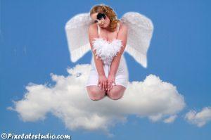 modellen foto , foto van een engel op een wolk