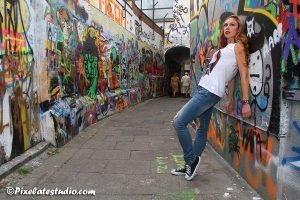 Foto's met model in de Werregarenstraat te Gent
