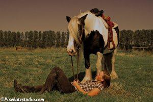 Paard met meisje in de wei
