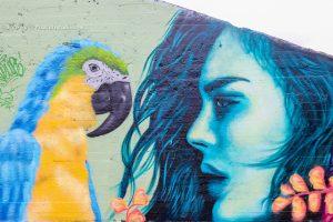 graffiti van een Vrouw met Papegaai