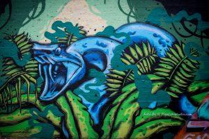 De slang , graffiti, muurschildering