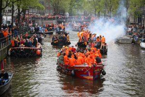 foto van de bootjes op de Prinsengracht Amsterdam